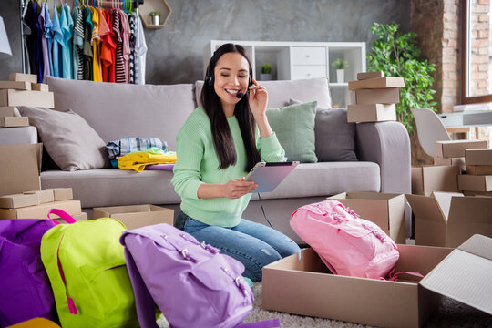 Portrait of her she beautiful cheerful girl experienced skilled operator talking on line landline help client consultation using gadget packing retail store order bags product trade home-based office