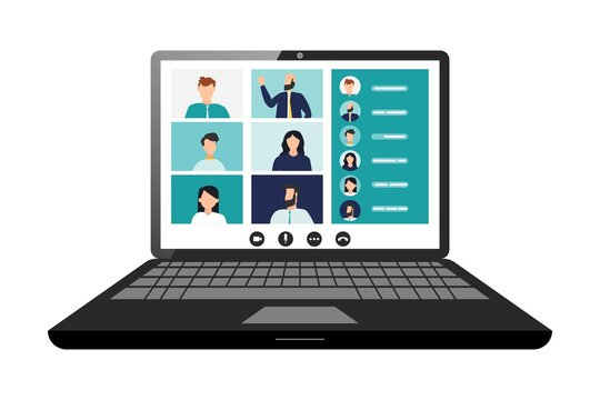 Remote working with a business meeting held via a video conference call. Teams joining via laptop. Microsoft Teams call