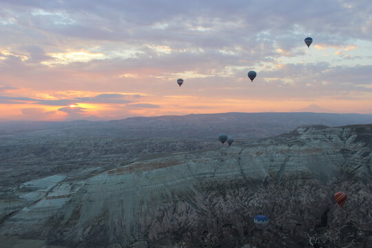 balloons soar in the sky at dawn