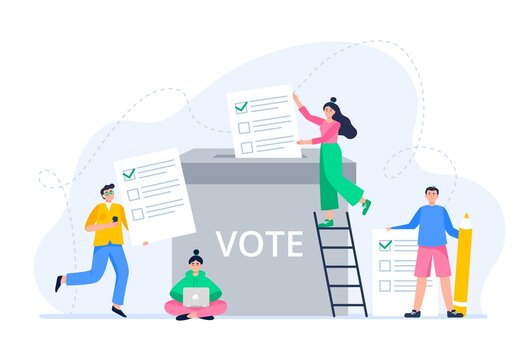 Young people putting paper ballots to election box. The public brings its decision to the voting box. Voting and election concept. Democratic election. Vector flat illustration.