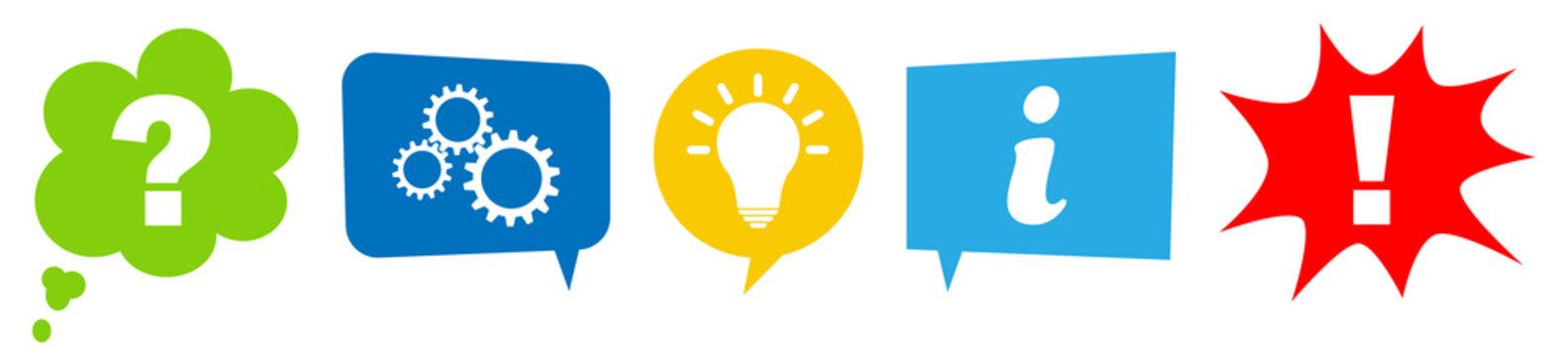 Sprechblasen Set mit Prozess Schritten von der Frage, Bearbeitung, Idee bis zur Ausführung