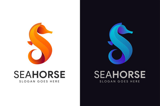 Abstract modern letter S for sea horse logo icon vector illustration on black background
