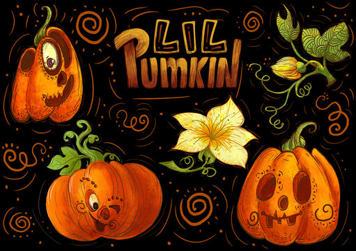 Pumpkin with carved spooky and funny face. Cartoon Halloween pumpkin set. Decorative elements for your celebration design. Vector illustration.
