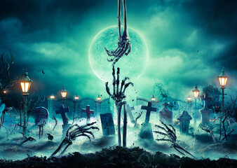 Zombie Hands Rising In In Dark Halloween Night - Cemetery With Full Moon