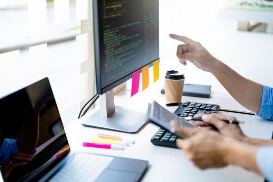 Software developer programmer coding data technologies.