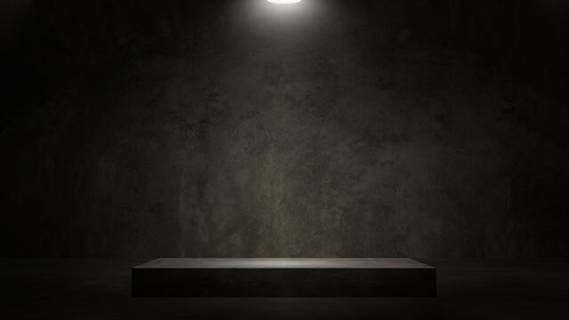 Dark and gray abstract cement wall and studio room white spotlight used as a studio background wall to display your products.