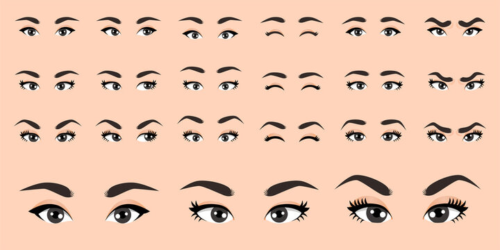 Cartoon female eyes collection vector illustration