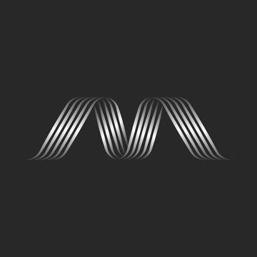 Monogram letter M logo minimal of overlapping metallic ribbons and swirls thin lines, smooth wave shape decor calligraphic emblem