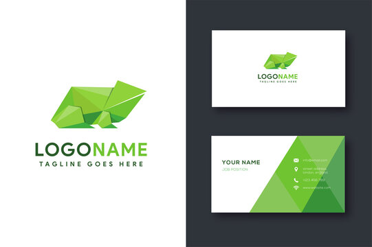 Frog origami logo icon vector template with polygonal logo style and business card template