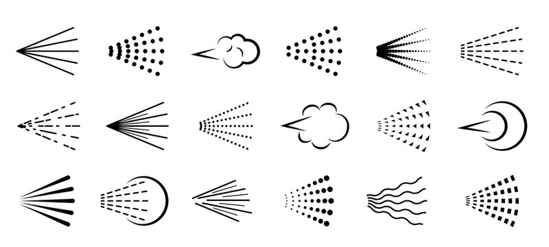 Spray icons. Scatter gas black silhouette, nozzle nebulizer cloud. Clean water symbol drop, hairspray, graffiti or deodorant aerosol haze, sprayer steam vector line isolated set