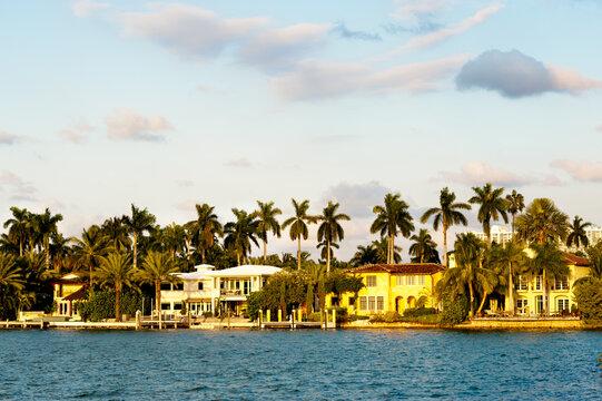 Multi-million dollar waterfront mansion homes on Star Island South Miami Beach Florida