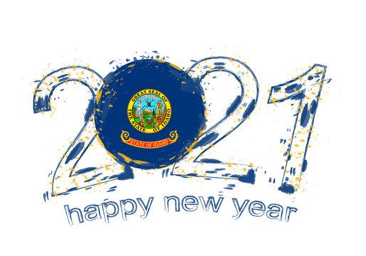 Happy New 2021 Year with flag of Idaho.