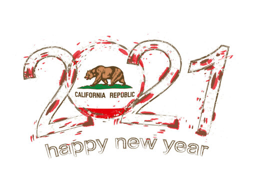 Happy New 2021 Year with flag of California.