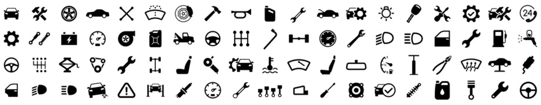 Car service icons set. Car repair. Garage icons collection. Vector