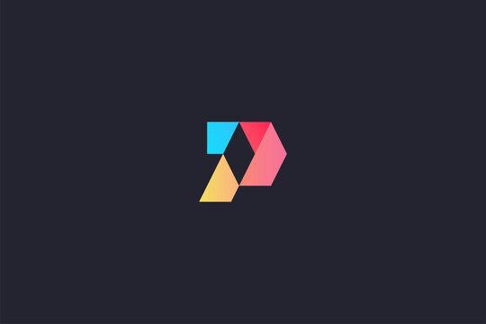 Technology Letter P Logo Abstract Whimsical Monogram