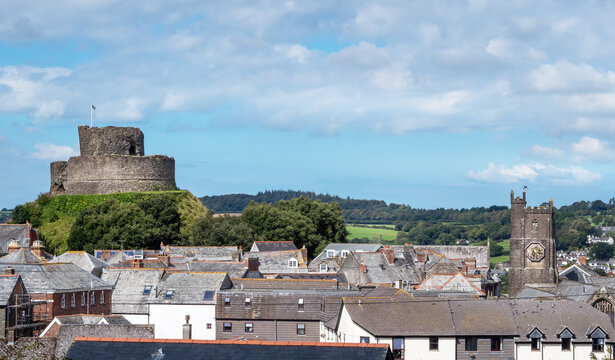 View over rooftops showing Parish Church and Castle, Launceston, Cornwall, UK.