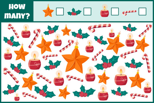 Educational mathematical game. Count the number of Christmas decorations. Count how many Christmas decorations. Counting game for children.