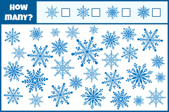 Educational mathematical game. Count the number of snowflakes. Count how many snowflakes. Counting game for children.