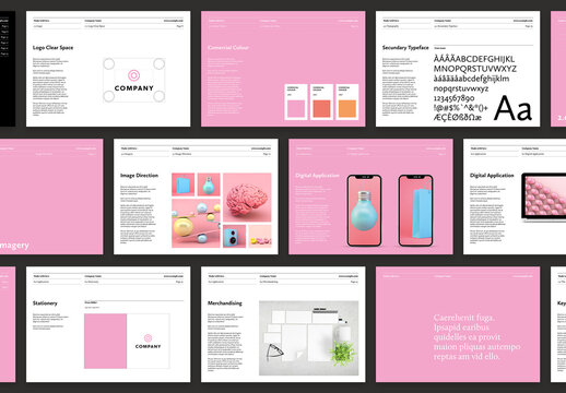Brand Guideline Manual Layout with Pink Accents