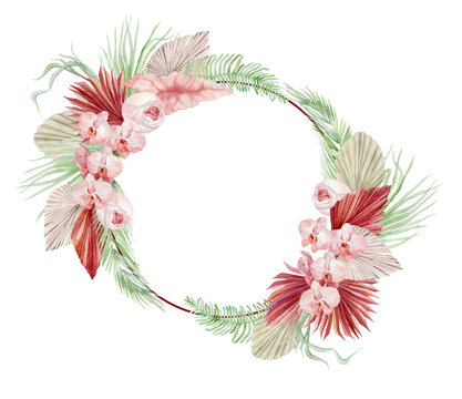 watercolor illustration, autumn wreath in bohemian style with burgundy palm leaves, orchid, protea, yellow aster and anthurium