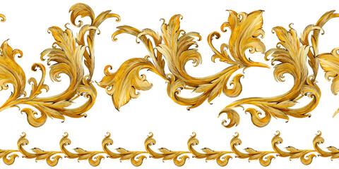 Photo sur Plexiglas Artificiel Gold damask seamless pattern. Watercolor vintage golden ornament. luxury textile print