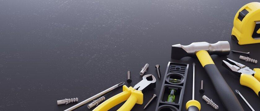 DIY tools set. Black & Yellow color.