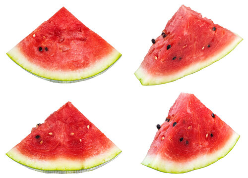 Set of watermelon slices on white background. Isolated