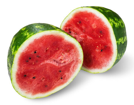 Halves of a ripe watermelon on a white background. Isolated
