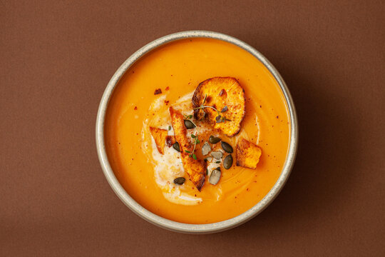 Cream of Pumpkin and sweet potato soup with seeds
