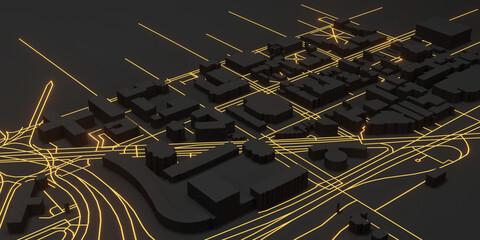 Dark black Techno mega city close-up. urban and futuristic technology gold light line concepts , original, 3d rendering.for design web banner illustration