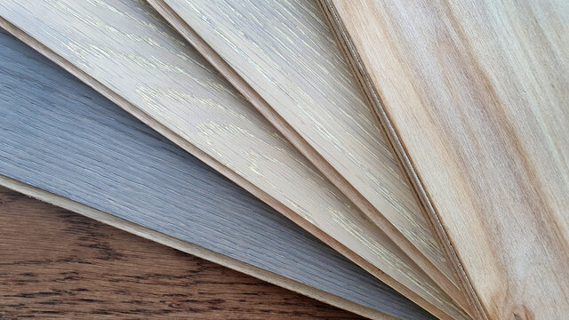 engineer or laminate or veneer wooden flooring click-lock type samples palette contains oak ,maple and ash wood color and pattern.