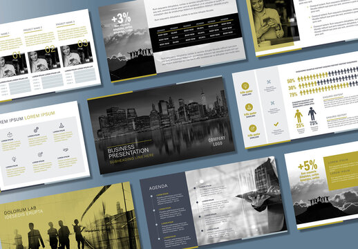 Business Presentation Layout with Green and Silver Accents