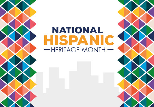 hispanic and latino americans culture, national hispanic heritage month in september and october of different colors decoration vector illustration design