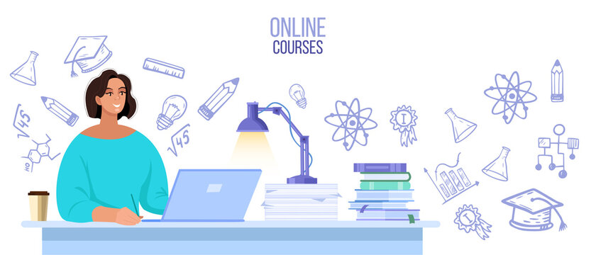 Online university or school vector illustration with student learning in internet at home. Virtual education or courses concept with woman, laptop, books. Online university banner with science doodles
