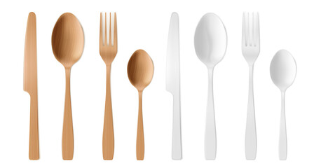 3d cutlery of wood and plastic, disposable fork, spoon and knife. Isolated wood or bamboo biodegradable table setting made of natural eco recycle reusable material, Realistic vector illustration, set