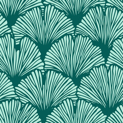 Vector seamless pattern with hand drawn ginkgo biloba leaves. Beautiful asian style design for textile, wallpaper, wrapping