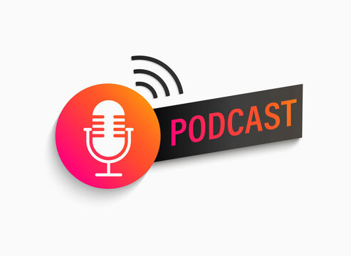 Podcast symbol, icon with studio microphone. Emblem for broadcast,news and radio streaming. Template for shows, live performances. Dj audio podcasting. Vector illustration.