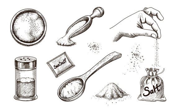 Collection of hand drawn sea salt. Salting crystals. Glass bottles and salt shaker and packaging sketch vector set
