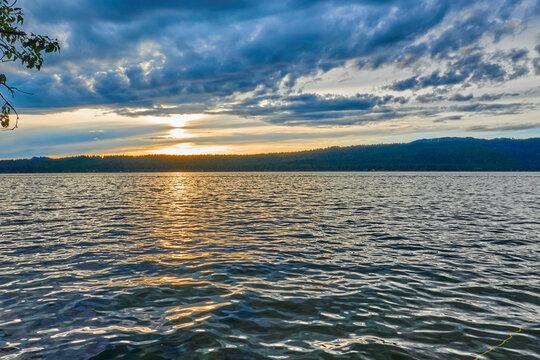 Sunset on Payette Lake at Ponderosa State Park outside of McCall, Idaho.