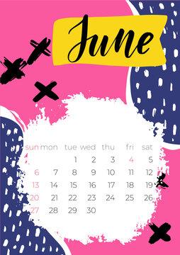 2021 June English Calendar Abstract Vector Hand Drawn