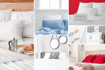 Set of pictures with comfortable beds