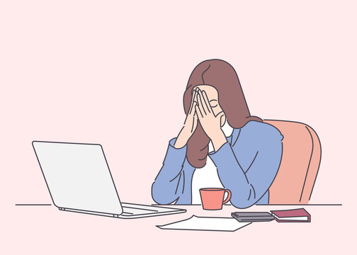 Feeling tired and stressed. Frustrated young woman keeping eyes closed and tired sitting at her working place in office. Hand drawn style vector design illustrations.