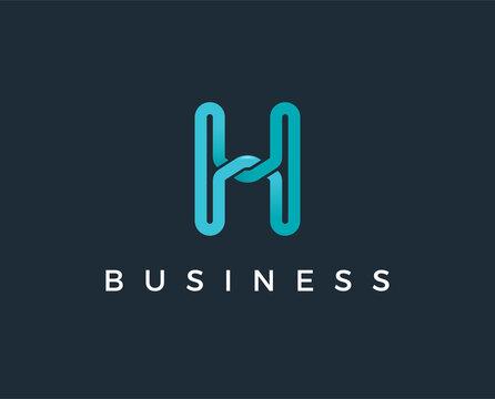 minimal letter h logo template - vector illustration