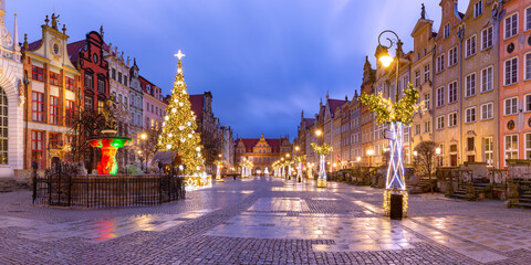 Wall Murals Eastern Europe Panorama of Long Lane with Fountain of Neptune and Christmas tree in Gdansk Old Town, Poland