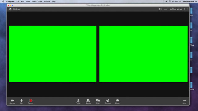 Generic Video Conferencing Interface with Two Green Screen Frames for Compositing over Video
