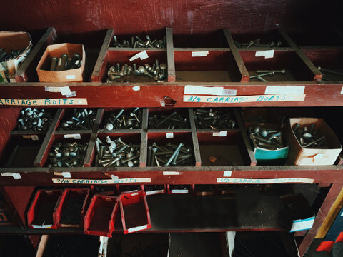 shelves of nuts and bolts and screws