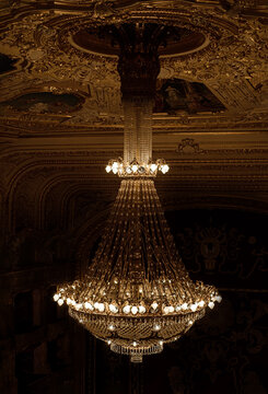 giant luxury chandelier in the opera house