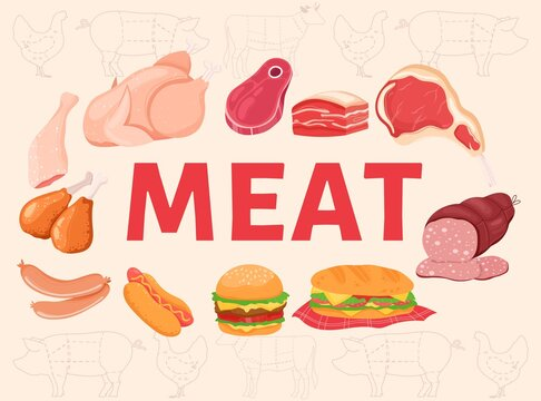 Meat word vector illustration. Cartoon various raw or yummy cooked meat food, pork beef steak, chicken thighs and sausages, hamburger hot dog fastfood with meat lettering cooking poster background
