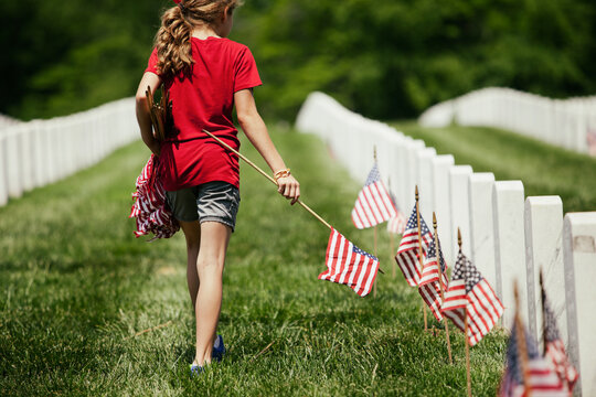 Memorial: Girl Walks Through Cemetary Placing American Flags