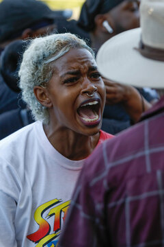 A woman yells as demonstrators take part in a protest in Rochester, New York